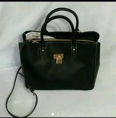 Tommy Hilfiger Black Leather Alexa Convertible Medium Shopper Handbag Purse #TommyHilfiger #TotesShoppers
