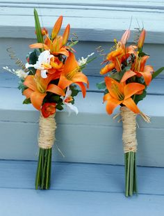 Orange Destination Wedding Flowers 10 piece package artificial Tiger Lily…