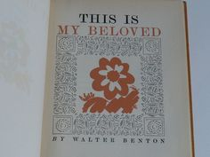 This is my Beloved by Walter Benton Poetry Verse  by booksvintage, $14.99