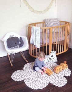 mommo design: NUVOLE....felt balls cloud rug