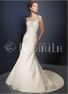 $303.99 Charming Sweetheart Satin #A-Line #Wedding #Dress With Beadings
