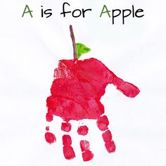 Hand Print Art for every Letter of the Alphabet. Make an ABC book with child's handprint artwork Abc Crafts, Alphabet Crafts, Alphabet Art, Daycare Crafts, Letter A Crafts, Classroom Crafts, Classroom Activities, Crafts For Kids, Apple Crafts