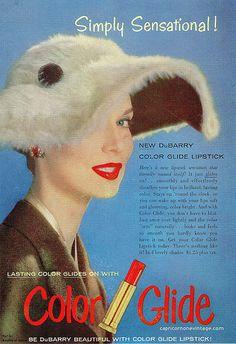 1956 DuBarry lipstick ad. #vintage #makeup #beauty #1950s