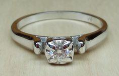 Vintage Antique .12ct Transitional Cut Diamond Prong Set 14k White Gold Engagement Ring 1950's Art Deco by DiamondAddiction on Etsy