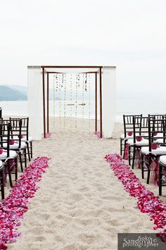 beautiful pink petals like this on the sides of the aisle, and no runner. Dark pinks and some light pinks mixed in so it matches well with the arch