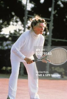 She was 74 in this tennis photo. I recently watched part of a movie on TCM entitled PAT AND MIKE with Katharine Hepburn and Spencer Tracy. Marlon Brando, Anthony Hopkins, Steve Mcqueen, Richard Gere, Iconic Women, Famous Women, Harrison Ford, Classic Hollywood, Old Hollywood