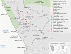 Map of damaraland Accommodation