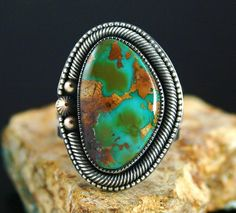 Sammie Kescoli Begay Royston Turquoise Solid 14K Gold Over Ingot Sterling Silver Ring