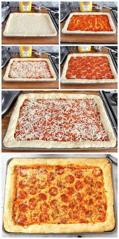 This easy Sheet Pan Pizza will be… Pizza night tonight! This easy Sheet Pan Pizza will become a staple at your home. Pan Pizza Receta, Pizza Pan, Crust Pizza, Solo Pizza, Easy Homemade Pizza, Homemade Pan Pizza Recipe, Pizza In A Pan Recipe, Deep Dish Pizza Dough Recipe, Easy Pizza Dough