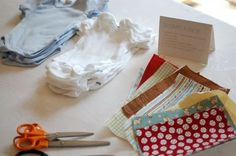 """Using scraps of fabric and iron-on fusible webbing is an easy way to decorate tops and tote bags! At my friend's baby shower, each guest had a chance to make a special onesie for the baby. We made it even easier for guests by doing the first three steps ahead of time and by providing them with a range of """"baby boy"""" shapes to use as templates!"""