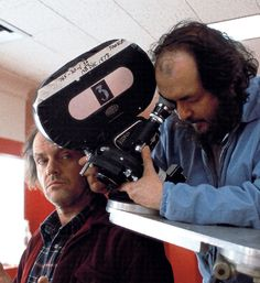 Stanley Kubrick and Jack Nicholson on the set of the Red Bathroom in The Shining. Interestingly, the angle Kubrick is setting up is not a shot in the film.