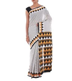 White Block Printed Cotton Saree #indianroots #ethnicwear #saree #cotton #printed #blockprint #summerwear #casualwear