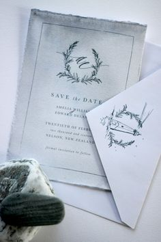 Just My Type wedding invitation and stationery design NZ organic, natural, romantic, watercolour, ocean suite. Featuring torn edges, calligraphy, watercolour, wax seals, silk ribbon, illustration wreath, wedding logo motif, lighthouse illustration, silver leaf, silver foil x save the date, printed envelope
