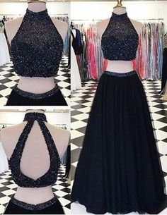Modern High Neck Two-pieces Prom Dress-Black A-line with Beading Prom Dresses, High Neck Prom Dress, Black Prom Dress, Prom Dress Two Piece, Prom Dress A-Line Prom Dresses 2019 Prom Dresses Two Piece, Formal Dresses For Teens, Black Prom Dresses, A Line Prom Dresses, Prom Party Dresses, Formal Gowns, Homecoming Dresses, Dress Black, Dress Formal