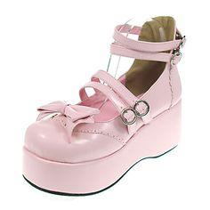 Cute 2.75 Platform PU Lolita Shoes with Bow