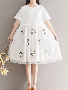 Women loose fitting over plus size embroidery flower dress skater tunic pregnant #Unbranded #dress #Casual