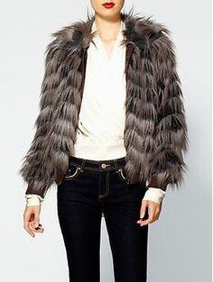 Rachel Zoe Darcy Vintage Faux Fur Bomber Jacket