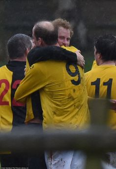 dailymail:  Sandringham Christmas Eve Football Match for charity, Norfolk, December 24, 2015-brothers William and Harry exchange a hug after the match