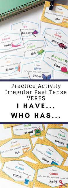 """This """"I have, Who has"""" card game is an easy-to-play irregular verb grammar activity. It's a fantastic way to practice 39 different past simple verbs with your students. It's great for listening skills as students must actively listen for their card to be called. This is a great game for small groups of 5-10 students."""