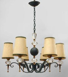 Art Deco Chandelier six arms. brass metal painted. Excellent condition. French. c1940s