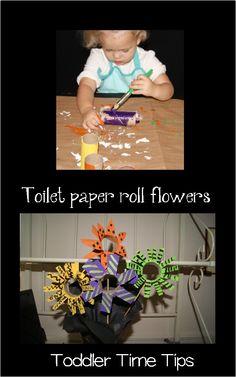 Toilet paper roll flowers Toddler Time Tips https://www.facebook.com/toddlertimetips