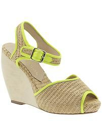 Loeffler Randall wedges with neon trim!