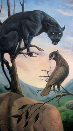 Illusion Kunst, Illusion Art, Black Panthers, Indian Art Paintings, Original Paintings, Oil Paintings, Magical Paintings, Original Artwork, Optical Illusion Paintings