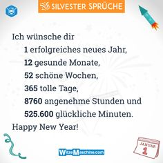 Silvestersprüche - Lustige Silvester Sprüche - 12 Monate - WitzeMaschine