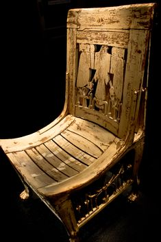 Chair of the king, discovered in the tomb of Tutankhamun.  In ancient Egypt the chair was a symbol of authority and prestige. […] The material used for the manufacture of the seats was wood of especially good quality imported from Lebanon or Punt (and undefined country located to the south or south-east of Egypt, which had a shoreline on the Red Sea in either Africa or Asia), or Egyptian wood like sycamore, tamarix, palm tree or acacia.
