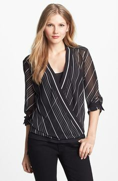 Vince Camuto Wrap Front Blouse (Regular & Petite) available at #Nordstrom