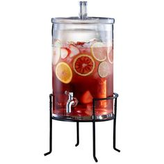 Jay Import Metal Stand Drink Dispenser ($40) ❤ liked on Polyvore featuring home, kitchen & dining, serveware, clear, metal beverage dispenser, metal stand, metal drink dispenser and metal serveware