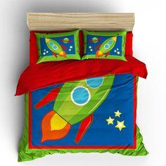 Outer Space Adventures Theme Kids Duvet Cover Pillow Case