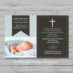 Cross Boy Baptism or Christening Invitation by printablecandee, $10.00