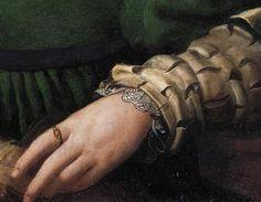 Agnolo Bronzino - Ritratto di dama in verde, dettaglio - 1530-1532 - olio su tavola - Hampton Court, Royal Collection
