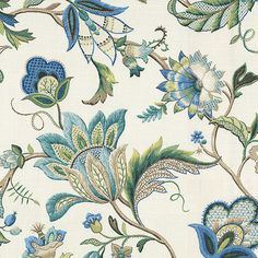 Fabric Patterns - Sophisticated Jacobean floral in bright classic shades of blue. Perfect for the new traditionalist. This jacobean blue floral fabric is available by the yard and on most Loom custom furnishings. Upholstery Fabric For Chairs, Furniture Upholstery, Upholstery Tacks, Upholstery Cleaner, Chair Fabric, Fabric Wallpaper, Of Wallpaper, Drapery Fabric, Linen Fabric