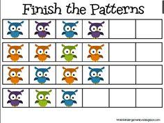 Miss Kindergarten: Freebie owl patterns!