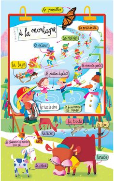 En montagne on FLE enfants curated by Pilar_Mun French Teaching Resources, Teaching French, French Phrases, French Words, Learn To Speak French, Study French, French For Beginners, French Worksheets, Material Didático