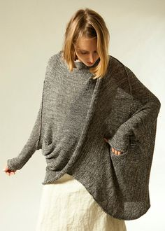 Gray knit sweater coat women oversize jacket Plus by TOOSHAAYA