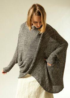 Gray knit sweater coat women oversize jacket Plus size by Toosha, $245.00