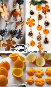 Dried orange peel and little pinecone garland for fall equinox Here is another Christmas ideas .Use orange peel to make some fabulous Christmas decorations . Such as orange peel rose centerpiece, hanging Natural Christmas, Noel Christmas, Diy Christmas Ornaments, Homemade Christmas, Winter Christmas, Fall Crafts, Holiday Crafts, Orange Ornaments, Christmas Ideas