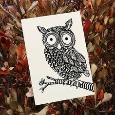 Owl Illustrated by Tatjana Buisson www.postcardhappiness.com #owl #wisdom #illustration #stationery #cards #blackandwhite #tatjanabuisson #postcardhappiness