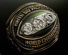 The Championship Ring given to the team of the 1967 World Champion, Super Bowl II winners, Green Bay Packers.