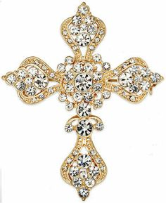 Charter Club Brooch, Gold-Tone Crystal Cross Pin on shopstyle.com