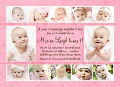 Keepsake Collage Girl's 1st Birthday Invitation - 12 Photo Pink