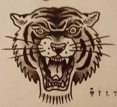 "Traditional/old school tattoo, Jeromey ""tilt"" McCulloch, tiger head"