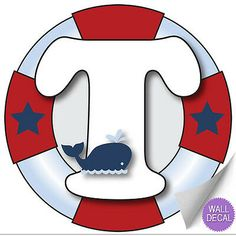 """Wall Letters """"T"""" Nautical Ocean Sailing Red White Blue Letter Stickers Alphabet Initial Vinyl Sticker Kid Decals Children Room Decor Baby Nursery Boys Bedroom Decorations Child Names Boat Whale Anchor Sailor Birthday, Baby Birthday, Letras Baby Shower, Nautical Baby, Nautical Letters, Nursery Decals, Boys Bedroom Decor, Monogram Alphabet, Kids Stickers"""