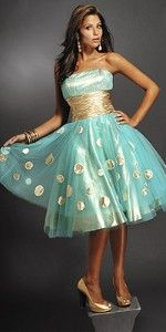 Gold Polka Dot Short Prom Dresses by Jovani..if I were going to Prom again :)