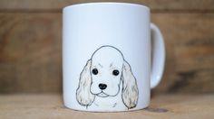 Hand painted animal mug  - Cute mug cup - dog mug cup - dog mug -Cocker Spaniel dog by CreativeStoneCera on Etsy
