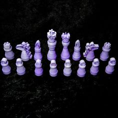 Quilled paper chess set Lavender purple and teal by SumireDesign