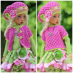 PINK & GREEN OUTFIT FOR MSD KAYE WIGGS DOLLS OR DOLLSTOWN DEOGI DT7 BY BARBARA
